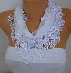 ON SALE - White Scarf Cotton  Scarf -  Shawl - Cowl Scarf with Lace Edge   - White Scarf - fatwoman - Bridesmaids Gifts