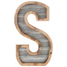 Wood & Galvanized Metal Letter - S