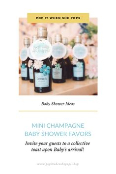 Tea Party Baby Shower Theme - Champagne Baby Shower Favors - Invite your guests to a collective toast upon Baby's arrival, cheers! Teal Baby Showers, Tea Party Baby Shower, Baby Shower Favors, Baby Boy Shower, Puppy Dog Cakes, Mini Champagne, Chic Vintage Brides, Baby Arrival, Cheers