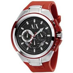 Relógio Armani Exchange Chronograph Black Dial Red Rubber Mesn Watch AX1040 #Relogios #ArmaniExchange