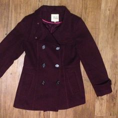 Maroon peacoat from Nordstrom Super stylish peacoat, bought it 2 years ago and don't really wear it any more. The color is amazing for fall/winter and is super warm! Looks very professional and cute with jeans or leggings. Jackets & Coats Pea Coats