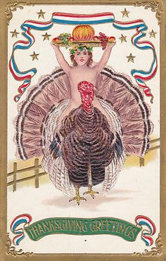 1907 Antique patriotic 'Thanksgiving Greetings' postcard boy riding a turkey, S. B. 259 - bidding starts at $9.99