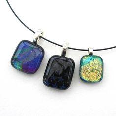 Dichroic glass sparkly pendant Handmade glass pendant