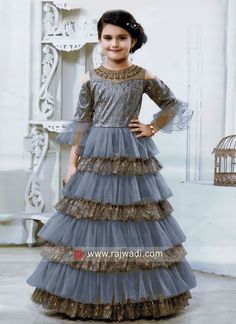 Multi Layer Designer Gown for Kids - The world's most private search engine Long Frocks For Girls, Gowns For Girls, Little Girl Dresses, Girls Dresses, Kids Gown Design, Girls Frock Design, Baby Dress Design, Baby Frocks Designs, Kids Frocks Design