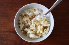 #47: LOVE this for breakfast! Greek yogurt, drizzled honey, banana, and a little bit of cereal/granola.