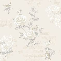 Jenny Wren - Grey - Shabby Chic - Rose - Birds - Music - Wallpaper Coloroll http://www.amazon.com/dp/B00ISYLJ0U/ref=cm_sw_r_pi_dp_ZL54vb1F7YH3D