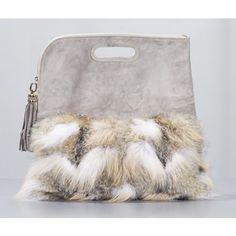 Derek Lam fur clutch bag