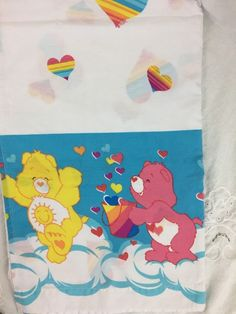 Care Bears Flat Twin Sheet Rainbow Hearts Bear Border