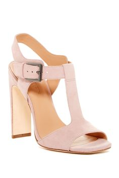 Step into spring in these Blush Halston Heritage Vera T-Strap Heeled Sandals