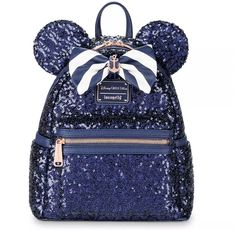 Set sail in high seas fashion with this stunning nautical navy mini backpack by Loungefly. Featuring a sequined design, Minnie ears and striped bow, this bag's compact silhouette makes it easy to embark on adventure while toting your essentials in style. Mouse Ears Headband, Ear Headbands, Pijama Disney, Minnie Mouse Backpack, Mickey Mouse, Cute Mini Backpacks, Disney Purse, Disney Cruise Line, Disney Merchandise