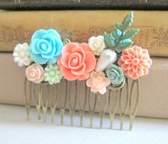 Coral AND turquoise!! Sarah could have this one...and then turquoise ones for the flower girls?? Idk...I want the flower girls to possibly have something in their hair, but not sure, I guess. I would like Sarah to since you'll probably have short hair, which I'm perfectly fine with :) lol hm...choices, choices! Coral Turquoise Wedding Hair Comb Bridesmaid Gift Peach Pink Blue Mint Bridal Head Piece Floral Flower Bird Pastel Colors Soft Romantic