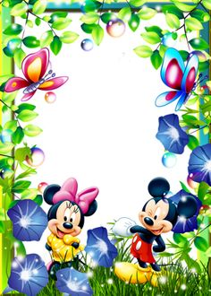 Mickey Mouse Crafts, Mickey Mouse Cartoon, Mickey Mouse Birthday, Mickey Mouse Background, Mickey Mouse Wallpaper, Frame Border Design, Boarder Designs, Photo Frame Wallpaper, Mickey E Minie