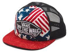 Vans Off The Wall Women'S Beach Girl Trucker Usa Stars & Stripes Hat Cap