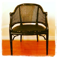 Black lacquer faux bamboo chinoiserie chair from my darling house on etsy
