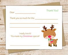 Christmas Thank You Cards  Personalized Reindeer Note Cards
