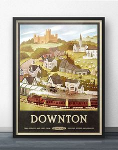 Care for some afternoon tea, anyone? :) This vintage-inspired travel poster of Downton is a tasteful, classic and subtle way to show that youre a fan of Downton Abbey! This artwork features the famous Highclere Castle, as well as many other familiar locations that fans may recognize,
