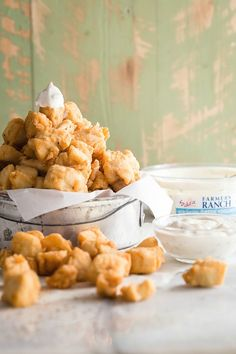 Easy Popcorn Chicken with Sabra Farmer's Ranch, the perfect bite-sized appetizer for game day.