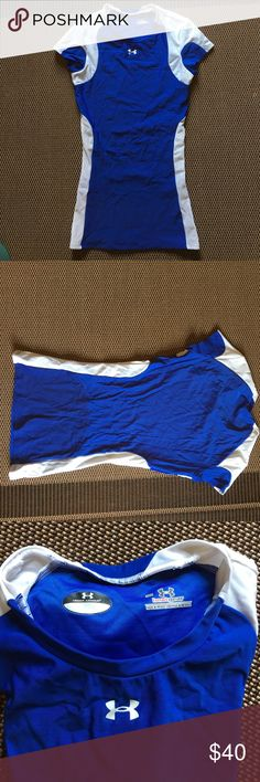 Blue and white under armour heat gear NWOT blue and white under Armour heat gear Under Armour Tops Muscle Tees
