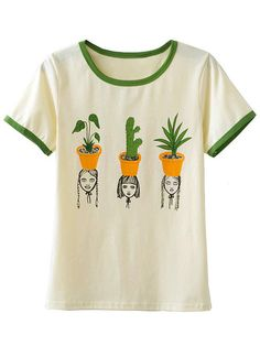 Multicolor Contrast Round Neck Short Sleeve Cactus T-shirt