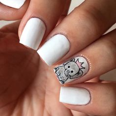 Baby elephant nails Inspired by: Cute Acrylic Nails, Glue On Nails, Gel Nails, Animal Nail Designs, Nail Art Designs, Baby Nails, Pink Nails, Elephant Nail Art, Baby Elephant