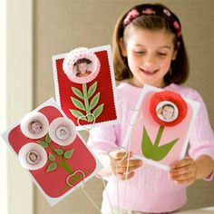 Give Mom a bouquet that she can treasure long past Mother's Day. Cut pictures into circles and adhere to inside of paper muffin liners. Cut stems from green paper and attach to cardstock.