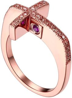 Sterling silver sideways cross ring - rose gold plated - CZs and  ruby - from the ELLE Jewelry collection at www.BillyTheTree.com