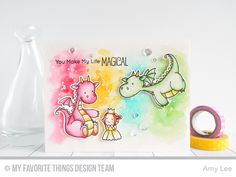 Handmade card from Amy Lee featuring Birdie Brown Magical Dragons stamp set and Die-namics Love Stamps, Mft Stamps, Clear Stamps, Kids Stamps, Monster Cards, Card Tricks, Animal Cards, Card Making Inspiration, Copics