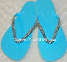 blue rhinestone sandals www.DiamondDivasBLING.com ♥ LIKE ♥ our page today! ♥ www.facebook.com/DiamondDivasBLING ♥ Rhinestone Sandals, Its My Bday, 3 Shop, Flip Flops, Bling, Facebook, Shoes, Fashion, Moda
