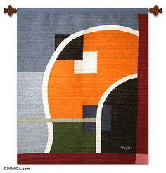 Wool tapestry - Geometrical Eclipse | NOVICA