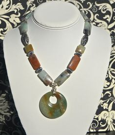 Mint Green and Brown Necklace With Pendant