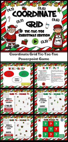Celebrate Christmas and practicing using the Coordinate Place with this engaging twist on traditional tic-tac-toe. Students choose a box and must answer the question correctly in order to place their shape. There are 3 game modes, each with 9 questions. There are 2 question types: naming objects at given coordinates and giving coordinates for given objects.