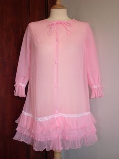 Vintage Cotton Candy Pink Chiffon Baby Doll Boudoir Robe by