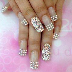White glam swarovski nail art