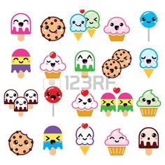 Caracteres lindos de Kawaii de alimentos magdalena helados galletas iconos…