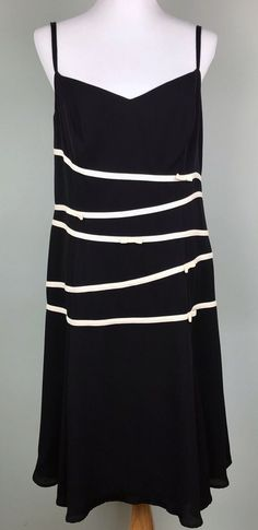 0478f7f0d946 Escada Black Silk White Stripe Bow Sleeveless Midi Dress Size 42 12 L