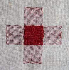 Darning sampler 1892 even weave darn front