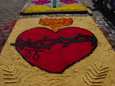 Sutiava alfombras de aserrin Religion Catolica, Flower Rangoli, Sacred Heart, Kirchen, Flowers, Topiary, Farmhouse Rugs, Confirmation, Ideas Para Fiestas