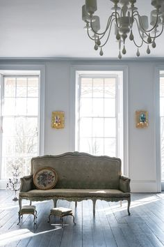 2014 Architectural Digest Home Design Show exhibitor Farrow & Ball. Color: Dimpse Might be nice for farm dining room. Farrow Ball, Farrow And Ball Paint, Blackened Farrow And Ball, Ammonite Farrow And Ball, My Living Room, Living Spaces, Fresco, Farrow And Ball Bedroom, Pavilion Grey