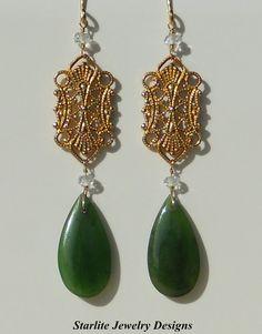 Vintage Filigree Earrings - Natural Jade Drop Earrings - Accented with White Topaz ~ Handmade by www.StarliteJewelryDesigns.com, $55.00