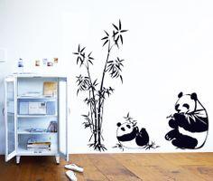 Two Pandas Eating Bamboo Leaves Beside The Bamboo #qxmall #walldecals #walldecors #wallarts #wallstickers