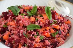 Quinoa with beetroot and carrot