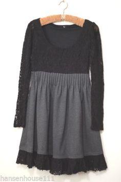 Ryu Scoop Neck Dress Black Lace w Charcoal Grey Skirt Empire Waist Goth M   eBay