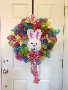 Easter bunny deco mesh blue, pink, green, and yellow on Etsy, $55.00