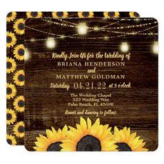 Square Sunflowers Wedding Invitation Rustic Wood - wedding invitations diy cyo special idea personalize card