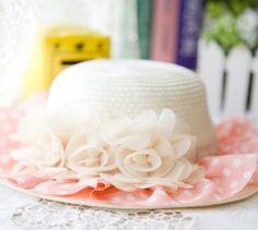 Sweet Chiffon Flower Embellished Flounce Straw Hat