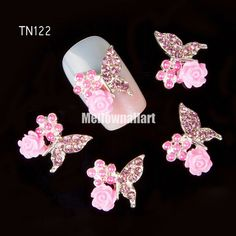 Cheap nail studs, Buy Quality rhinestone for nail art directly from China rhinestones for nails Suppliers: Blueness Butterfly Flower Design Nail Studs Pearl Alloy Rhinestones For Strass Nail Art Decorations 3d Nail Art, 3d Nails, Nail Art Hacks, Nail Art Rhinestones, Rhinestone Nails, Crystal Rhinestone, Pearl Nail Art, Pearl Nails, Nail Art Supplies
