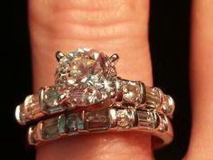 Beautiful Sparkling Colorless Diamond Engagement Ring and Wedding band Wedding Sets, Wedding Bands, Dream Wedding, Love Ring, Diamond Are A Girls Best Friend, Diamond Engagement Rings, Diamonds, Sparkle, Bling