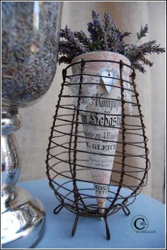 pretty tussie mussie with lavender in a lovely little wire basket