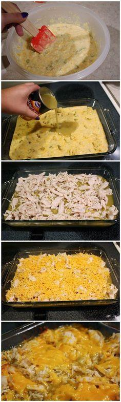 Chicken Tamale Casserole I used 1/2 my corn bread recipe. no creamed corn. In a 9 inch square pan. it was good. Mark loved it!