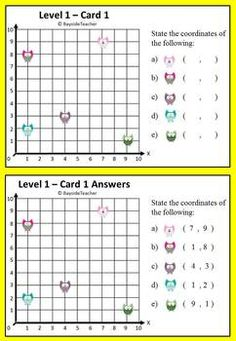 FREE Coordinate Math Center Game This FREE math center game has 12 different task cards over 4 levels and full solutions provided for each card.  Students need to identify that the points on a cartesian plane are represented by what is called an ordered pair or coordinates as ( X value, Y value )